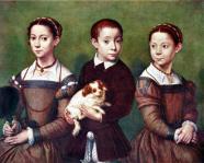Дети и той-спаниель,Sofonisba Anguissola 1532-1625